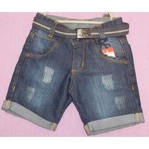 Short Bermuda Jeans Infantil Bebe Menino Calça Cinto