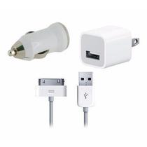 Kit 3 En 1 Ipod Iphone 3 Y 4 Cargador Casa + Carro + Cable