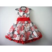 Vestido Rosas C/ Blusa Vermelho Bambina Fashion Saldão!