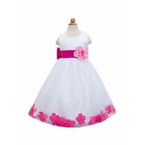 Hermoso Vestido Presentación Ceremonia Niña Blanco/fucsia