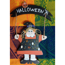 Adorno Para Puerta Bruja De Halloween Madera Country
