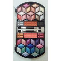 Kit 5 Estojo Maquiagem Paleta Com 38 Sombra 3d Blush Pincel