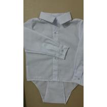 Body Camisa Bebe Menino Manga Comprida Branco Ideal Batizado