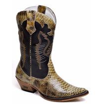 Bota Masculin Country Texana Couro Anaconda+chaveiro Botina