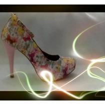 Sapato Rosa Número 36 Com Flores Lindo Meigo Chamoso Scarpin