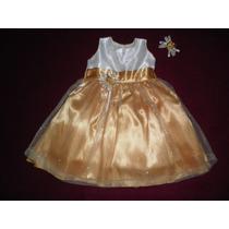 Nuevo Dress Vestido Dorado 1 - 2 Años Fiesta Princesa