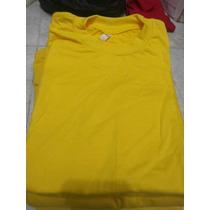 Franela 100% Algodon Cuello Redondo Amarillo Bandera