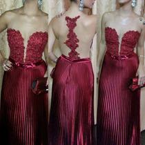 Promoção!vestido Casamento Batizado Renda Luxo Vinho!!