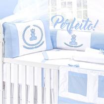 Kit Berço Urso Azul Menino Coroa 9 Peças + Saia Grátis