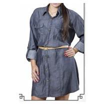 Vestido Camisa Jeans Rastros D´agua Linda Promoção