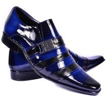 Sapato Social Couro Verniz Combina Gravata Slim Fit Terno