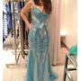 Vestido Gregory Longo De Gala / Festa - Azul - Tam: P