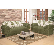 Capa De Sofa Estampada Floral 3x2 Lugares 21 Elastico Verde