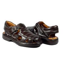 Sandálias Masculino Diabeticos Couro Palmilha Gel Calçados