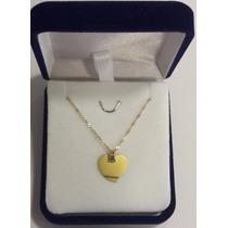 Conjunto Medalla Corazon Para Grabar Y Cadena De Oro 18 K