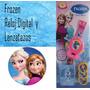 Reloj Frozen + Lanza Tazos 2 En 1 Original Sellado