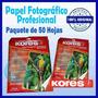 Papel Fotografico Kores Carta 180gr X 50 Hojas Glossy Brilla