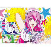 Genial Set De Super Sonico Arte Visual Y Carpeta Banpresto