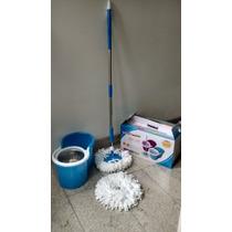 Balde Spin Mop Azul 360°giratório Cesto E Haste Inox+refil