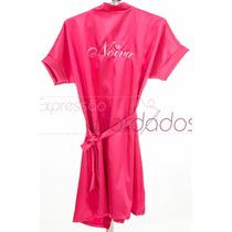 Robe / Roupão Dia Noiva Cetim Casamento Bordado Noiva Roby