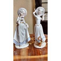 Damas Con Sombrero Figuras De Porcelana Antigua