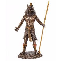 Escultura De Anubis Dios Perro Guerrero En Acabado Bronce