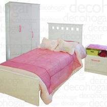 Dormitorio Juvenil Cama +mesa Luz +placard 3puertas Mosconi