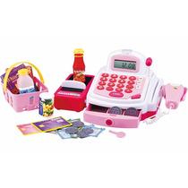 Caixa Registradora Infantil Luz E Microfone Com Som Rosa