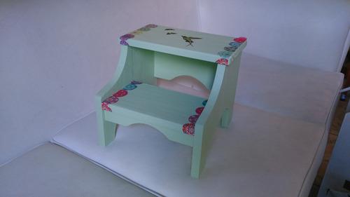 Muebles Para Niños-banco Escalador De Madera Pintado - $ 350,00 en ...