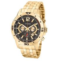 Relógio Masculino Citzen Dourado Cronógrafo Fundo Preto