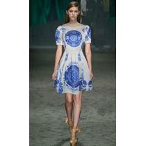 Vestido Estampa Azulejo (38/40) Pronta Entrega No Brasil