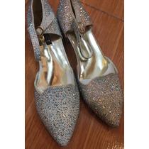 Zapatos Plateado Taco Bajo Fiesta Únicos Mujer 15 Casamiento