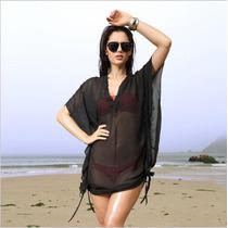 Vestido Playa Para Traje De Baño Bikini Negro Gasa