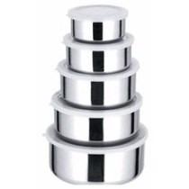 Jogo De Potes 5 Peças Em Aço Inox Tampa De Silicone