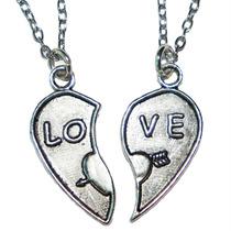 Collar Corazón Partido Love P/ Amor Novios Pareja Enamorados