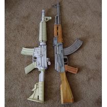 Projeto Arma De Papel M4 Ak47 Sniper Airsoft Paintball+brind