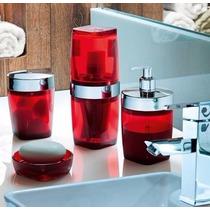 Conjunto P/ Banheiro 4 Peças - Kit De Acessórios - Vermelho