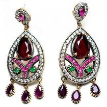 Gqp-brincos Turquia Turco Prata 925 Cristal Rubi Esmeralda Z