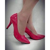 Sapato Feminino Scarpin Clássico Verniz Salto Médio