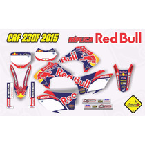 Kit Adesivo Crf 230 Red Bull Full Bike Com Capa De Banco