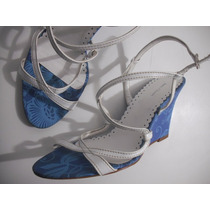 Sandalia Anne Claude Azul E Branco Anabela Tam 39 Ótima