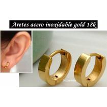 Aretes Argolla Acero Baño Oro 18k Damas Niñas Traido De Usa
