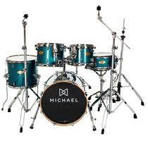 Bateria Acústica Michael Elevation Dm853 Azul Spark Bumbo 22