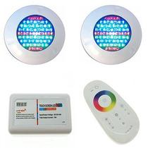 Kit Iluminação Piscina 2 Refletores Led 70 Abs Rgb + Comando