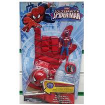 Luva Homem Aranha + Lançador De Disco + Boneco 10 Cm