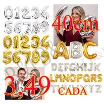 Balão Metalizado Dourado Ou Prata Letra E Numero 40cm A A Z