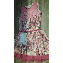 Vestido De Festa Infantil Floral Bordado Pérolas - Cattai