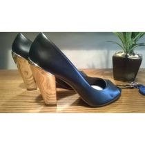 Gacel Zapatos Sandalia Nuevos Cuero Negro 38 Taco Dorado