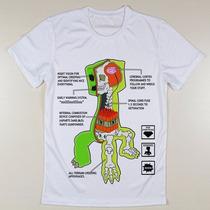 Camiseta Game Creeper Minecraft Cranio Raio X
