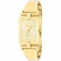 Relógio Feminino Dourado Quadrado Technos Casual 2035lvr4x